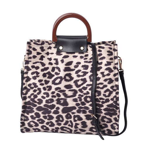 Stylish Leopard Pattern Velvet Middle Size Tote Bag with Detachable and Adjustable Shoulder Strap (S