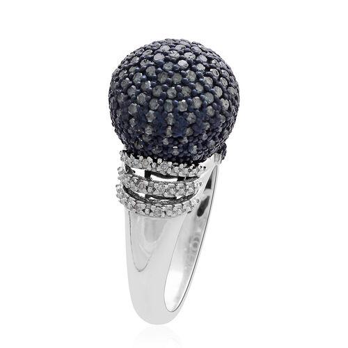 Designer Inspired Blue Diamond (Rnd), White Diamond Ring in Platinum Overlay Sterling Silver 1.000 Ct., No. of Diamond 167pcs, Silver wt. 7.05 Gms.