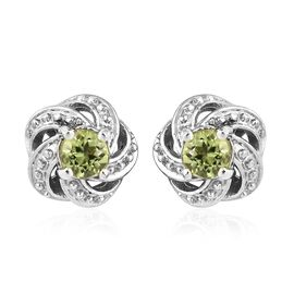 Chinese Peridot (0.50 Ct) Platinum Overlay Sterling Silver Earring  0.500  Ct.