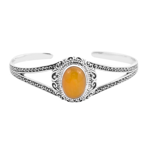 Royal Bali Collection - Yellow Jade Cuff Bangle (Size 7.5) in Sterling Silver 14.28 Ct, Silver wt 21
