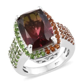Finch Quartz (Cush 14x10 mm), Russian Diopside,Madeira Citrine Ring in Platinum Overlay Sterling Sil
