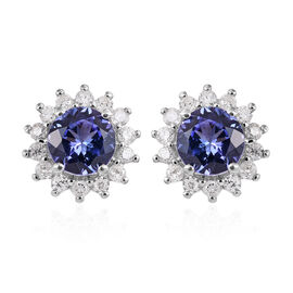 9K White Gold Tanzanite (Rnd), Diamond Stud Earrings 1.300 Ct.