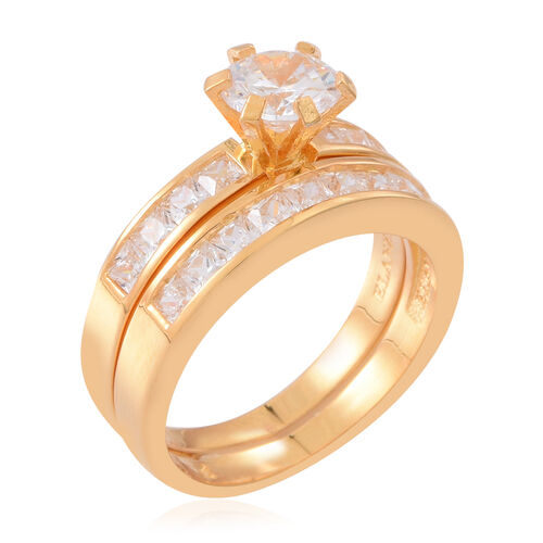 ELANZA Simulated White Diamond (Rnd) 2 Ring Set in 14K Gold Overlay Sterling Silver, Silver wt 7.50 Gms.