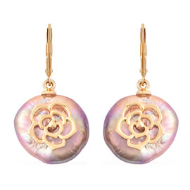 Multi Colour Baroque Pearl Lever Back Earrings in Yellow Gold Overlay Sterling Silver