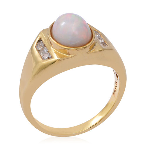 Ethiopian Welo Opal and Natural Cambodian Zircon Ring in Yellow Gold Overlay Sterling Silver 2.00 Ct, Silver wt. 5.40 Gms