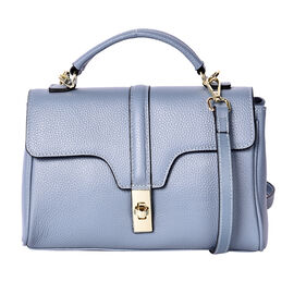 Sencillez 100% Genuine Leather Convertible Bag with Flap Lock in Blue