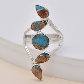 Santa Fe Collection - Spiny Turquoise Ring in Rhodium Overlay Sterling Silver