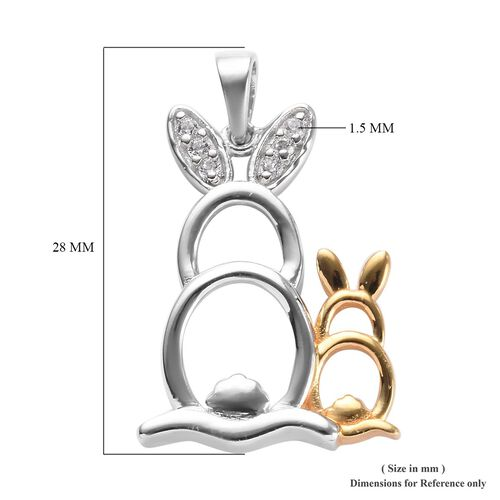 Natural Cambodian Zircon Bunny Pendant in Platinum and Yellow Gold Overlay Sterling Silver