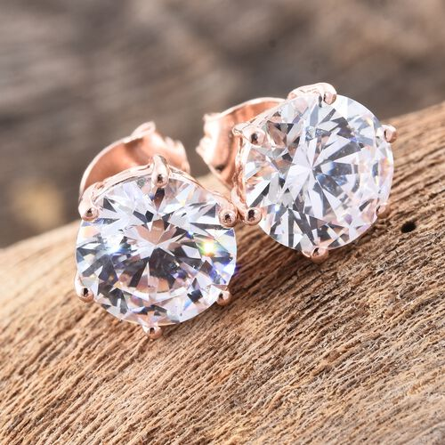 J Francis - Rose Gold Overlay Sterling Silver (Rnd 8mm) Stud Earrings (with Push Back) Made with SWAROVSKI ZIRCONIA