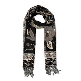 Paisley Floral Pattern Scarf (Size 70x200 mm) - Black