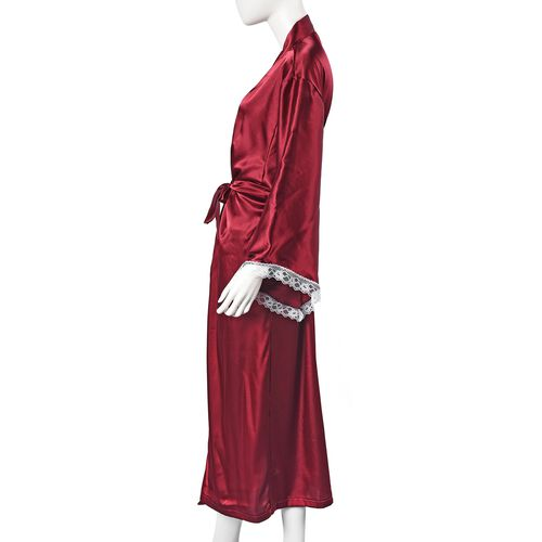Solid Wine Colour Satin Feel Long Kimono (Size 65x130 Cm)