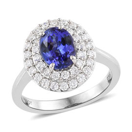 RHAPSODY 950 Platinum AAAA Tanzanite (Ovl), Diamond (VS/E-F)  Ring 2.000 Ct, Platinum wt 6.38 Gms