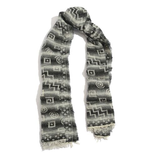 WINTER SPECIAL Mohair, Acro and Cotton Black and White Colour Geometric Pattern Scarf (Size 195x75 Cm)