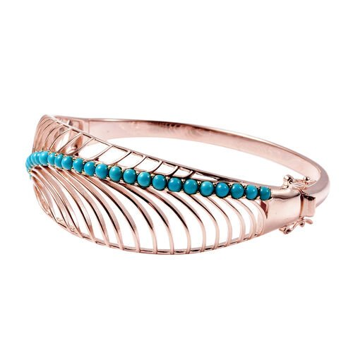 Isabella Liu Sea Rhyme Collection - Arizona Sleeping Beauty Turquoise Bangle (Size 7.5) in Rose Gold Overlay Sterling Silver 2.19 Ct.