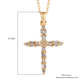 Diamond (Rnd and Bgt) Cross Pendant with Chain (Size 20) in 14K Gold Overlay Sterling Silver 0.24 Ct.