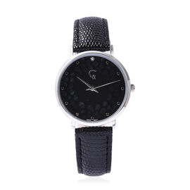 Rachel Galley Diamond Studded Swiss Movement Watch with Black Genuine Leather Strap