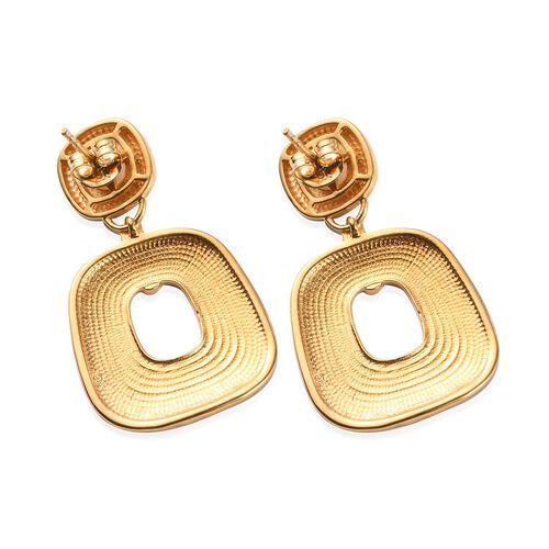 Ethiopian Welo Opal Enamelled Dangle Earrings (with Push Back) in 14K Gold Overlay Sterling Silver 1.25 Ct, Silver wt. 8.00 Gms