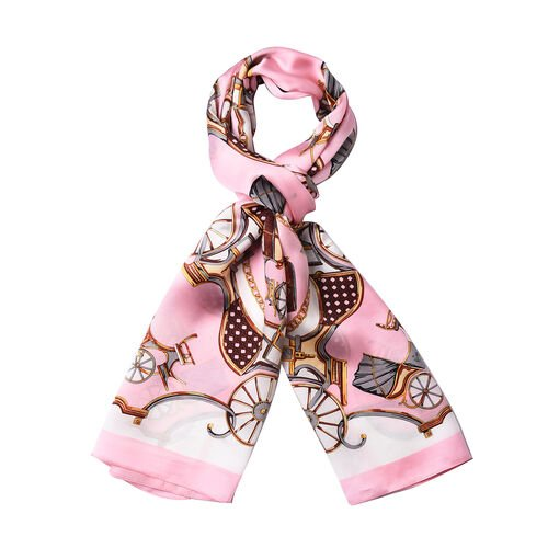 LA MAREY 100% Glossy Mulberry Silk Carriage Print Pink and White Scarf (175x52cm)