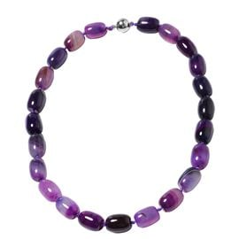 19 Inch Purple Colour Agate Beaded Necklace With Magnetic Lock
