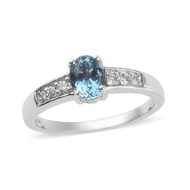 ILIANA 18K White Gold AAA Santa Maria Aquamarine (Ovl 7x5mm), Diamond (SI/G-H) Ring 0.75 Ct.