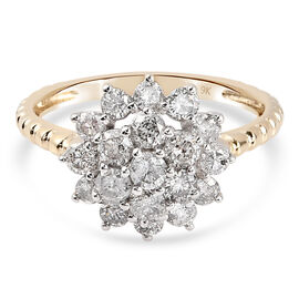 9K Yellow and White Gold SGL Certified Natural Diamond (I3/G-H) Floral Ring 1.03 Ct.