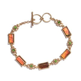 AA Canadian Ammolite (Rct 10x5 mm), Russian Diopside Bracelet (Size 7-7.5) in Yellow Gold Overlay St