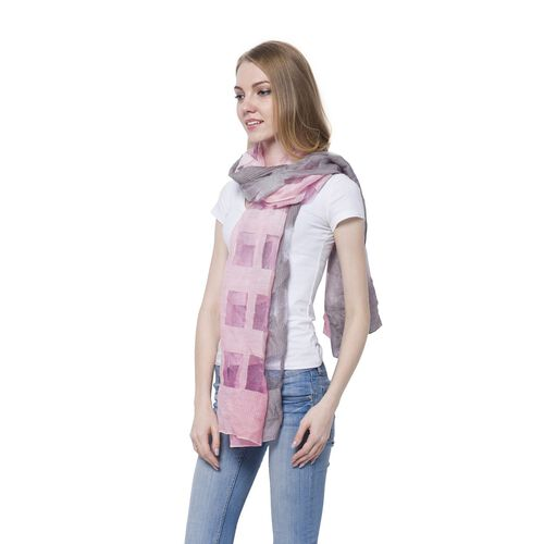 20% Wool Light Pink and Grey Colour Transparent Checks Pattern Scarf (Size 180x60 Cm)