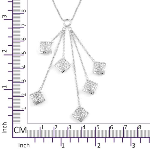 RACHEL GALLEY Rhodium Plated Sterling Silver Memento Diamond Cluster Necklace (Size 18), Silver wt 13.49 Gms.