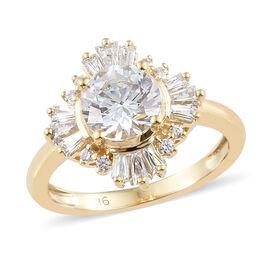 J Francis - 9K Yellow Gold (Rnd) Ring (Size M) Made With SWAROVSKI ZIRCONIA