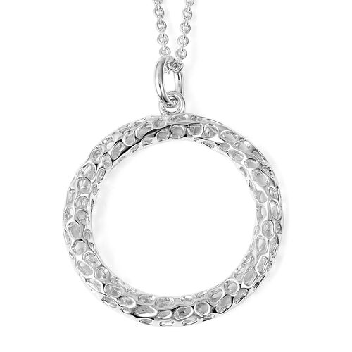 RACHEL GALLEY Lattice Circle Pendant with Chain (Size 30) in Rhodium Overlay Sterling Silver, Silver wt 12.45 Gms