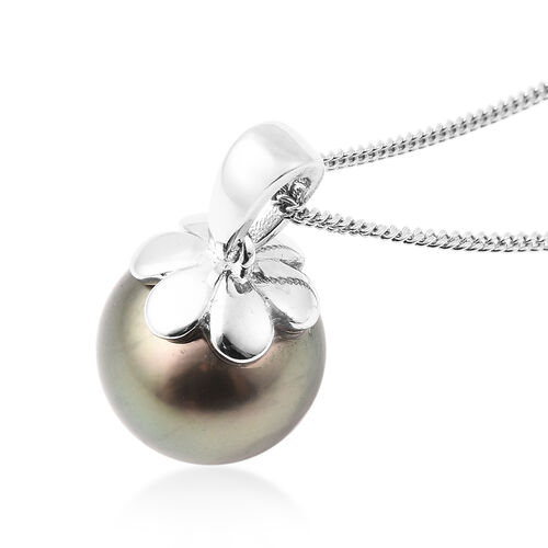 Galatea Pearl- Tahitian Momento Talking Pearl  Pendant With Chain (Size 18) in Rhodium Overlay Sterling Silver