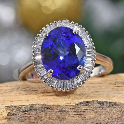 RHAPSODY 950 Platinum AAAA Tanzanite (Ovl), Diamond (VS/E-F) Ring 4.50 Ct.