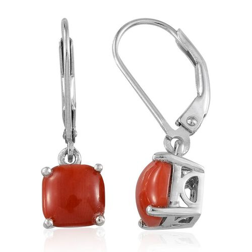Mediterranean Coral (2.75 Ct) Platinum Overlay Sterling Silver Earring  2.750  Ct.