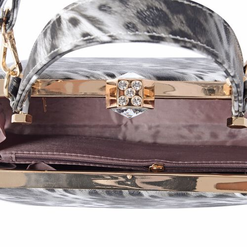 Boutique Collection Chic Leopard Print with White Crystal Evening Bag (SIze 26x15x12.5 Cm)