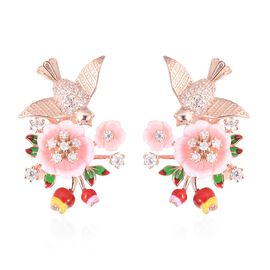 Jardin Collection Mother of Pearl and Zircon Hummingbird Floral Earrings in and Rose Gold Plated