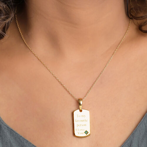 Personalised Engrave Birthstone Dog Tag Necklace in Silver