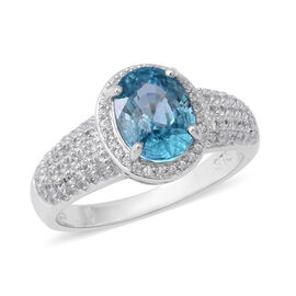 4.75 Ct Blue Zircon and Zircon Halo Ring in Rhodium Plated Silver