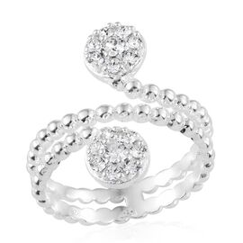 J Francis Crystal from Swarovski - White Crystal (Rnd) Ring in Sterling Silver, Silver wt 4.21 Gms.