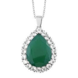 Verde Onyx (Pear 20x15 MM 11.00 Ct), White Topaz Pendant with Chain in Platinum Overlay Sterling Silver 13.500 Ct. Silver wt 5.88 Gms.