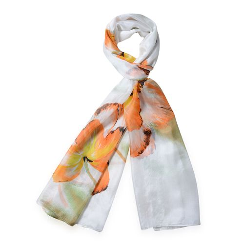 100%  Mulberry Silk White and Multi Colour Floral Pattern Scarf (Size 175x53 Cm)