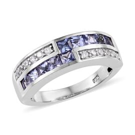 Tanzanite (0.90 Ct),Cambodian Zircon Platinum Overlay Sterling Silver Ring  1.000  Ct.