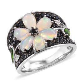 Ethiopian Welo Opal (Pear), Boi Ploi Black Spinel and Russian Diopside Ring in Platinum and Black Ov