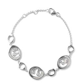 LucyQ Fluid Collection - Moissanite Drop Charm Inspired Bracelet (Size 8 with Extender) in Rhodium O