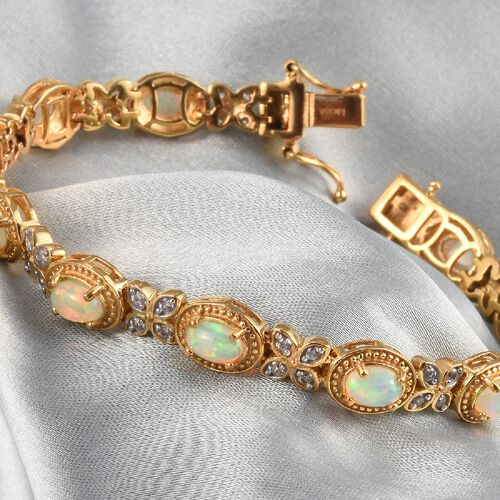 Ethiopian Welo Opal and Natural Cambodian Zircon Bracelet (Size 7) in 14K Gold Overlay Sterling Silver 4.09 Ct, Silver wt. 15.00 Gms