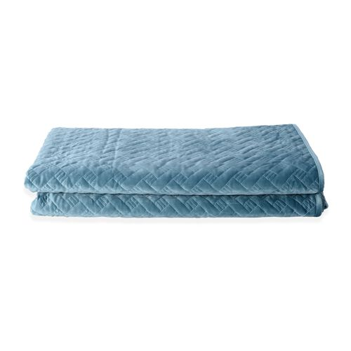 Deluxe Collection - Extremely Soft Short Pile Velvet Quilt with Full Embroidery in Teal Colour (Size