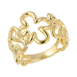 Lucy Q Yellow Gold Overlay Sterling Silver Splash Ring