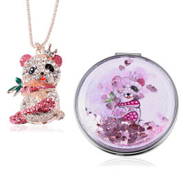 Set of 2 - Pink and Multi Colour Austrian Enamelled Koala Pendant with Chain (Size 28 with 2 inch Ex