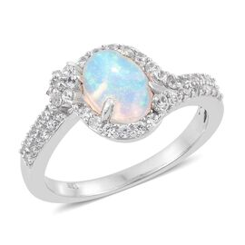 Rare Size-Ethiopian Welo Opal (Ovl 9X7 mm), Natural Cambodian Zircon Ring in Platinum Overlay Sterling Silver 1.750 Ct.