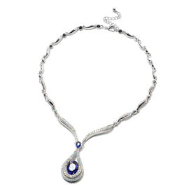 Simulated Sapphire and Simulated Mystic White Crystal Necklace (Size 21 with Extender) in Silver Ton