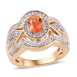 Limited Edition - Jalisco Fire Opal (Ovl 7x5 mm), Natural Cambodian Zircon Ring in 14K Gold Overlay